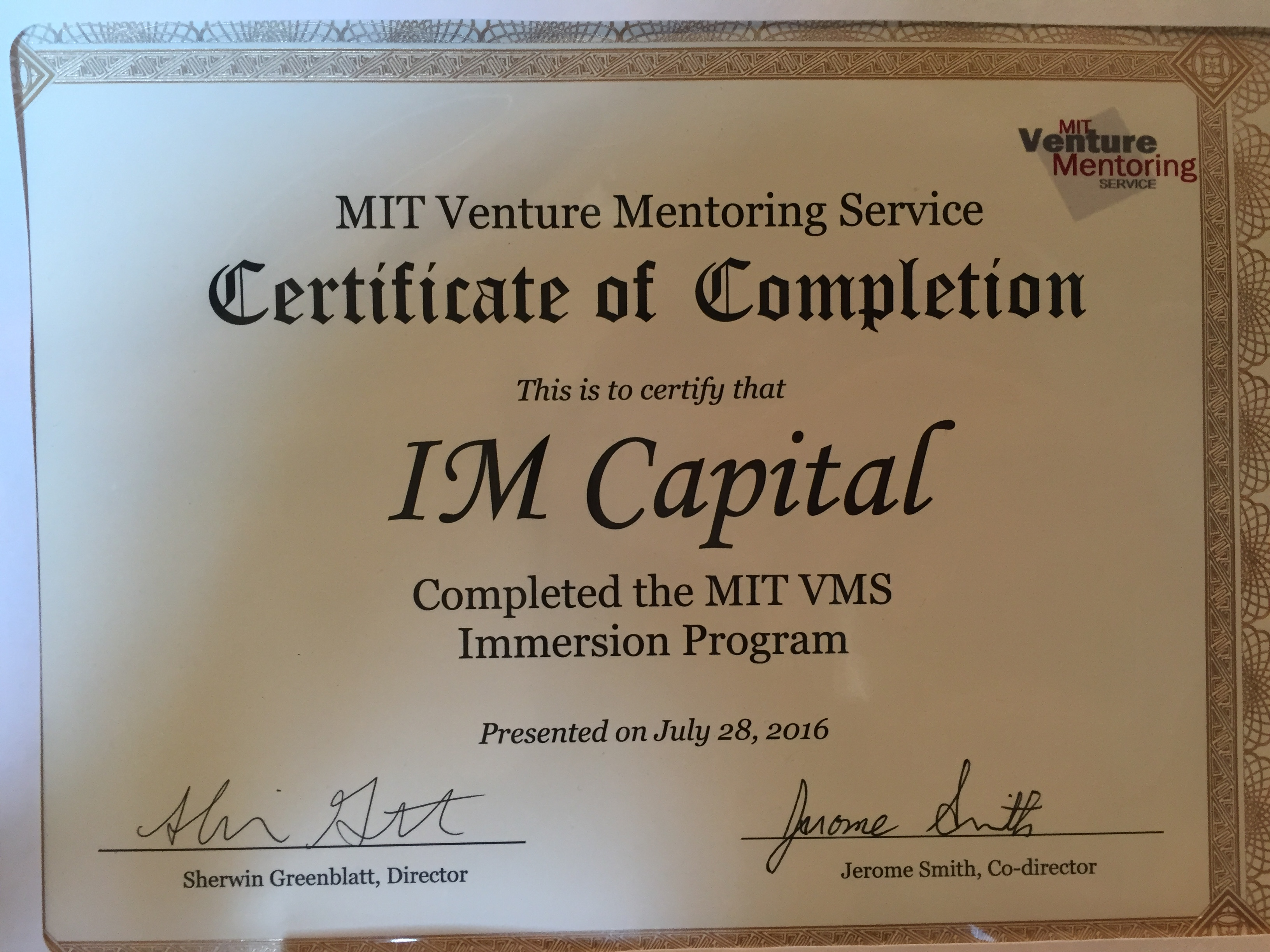 Im capital at mit for venture mentoring immersion program im capital im capital received a certificate of completion of the mit vms immersion program and returned armed with much relevant know how necessary for putting xflitez Gallery